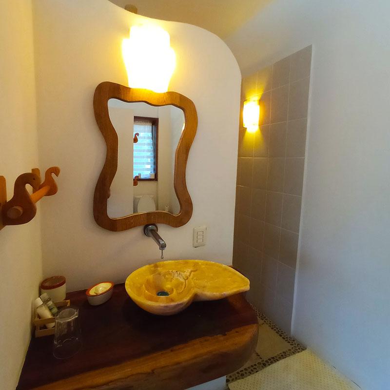The room has a beautifully designed bathroom
